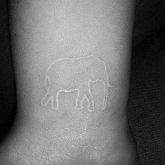 White Ink-tattoo- elephant