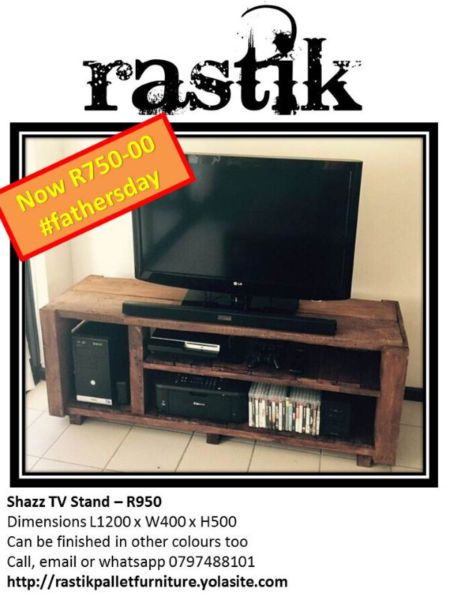 Shazz TV Stand – R950Dimensions L1200 x W400 x H500Can be finished in other colours tooCall, email or whatsapp0797488101http://rastikpalletfurniture.yolasite.com