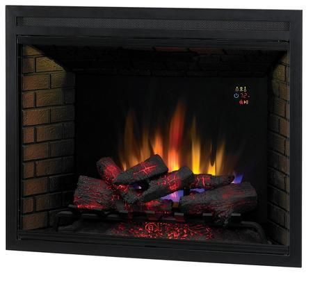 """39EB500GRA 39"""" LED Builders Electric Firebox with Fixed Glass Remote Control Auto Shut-Off Timer and Function Indicator Lights in Black"""