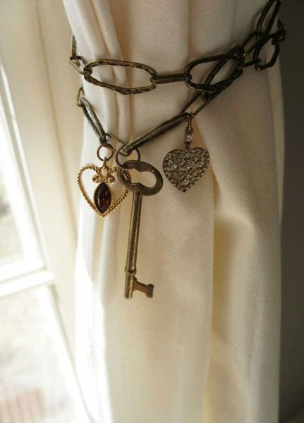~I love this look. The article doesn't really specify exactly what the chain material is, but I bet it would be easy to find options or just DYI out of twips. I love the old key, but I would change out the charms...