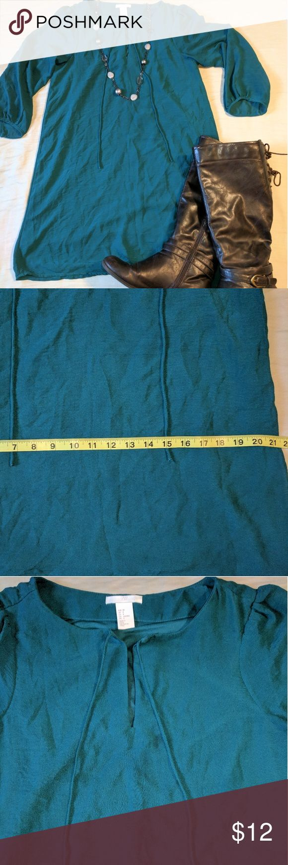 Ladies Teal green knee length dress 3/4 sleeve M8 In great e only worn a few time. You are buying the dress only, the necklace and boots are not for sale. Size 8 H&M dress. See photos for details. H&M Dresses Midi