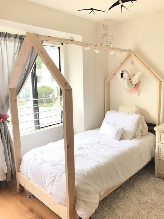 Twin House Bed Frame Slats Raised 6 Made In Us With Images