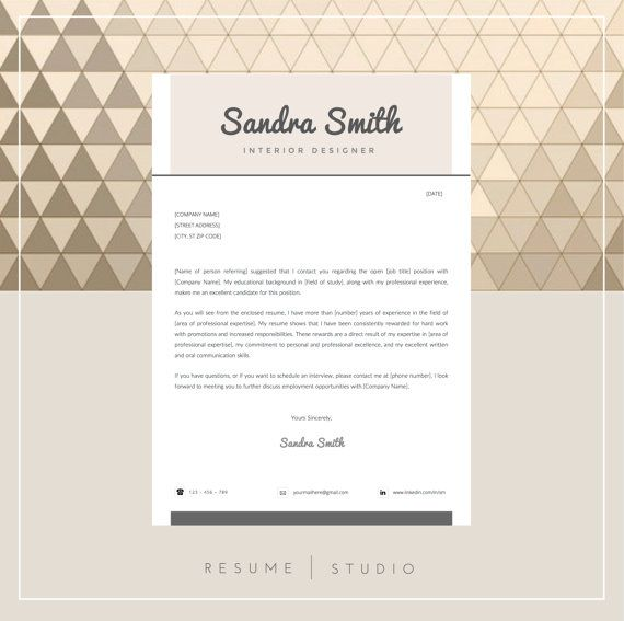 buy1 get1free resume template and cover letter by resumestudio - Cover Letter And Resume Format