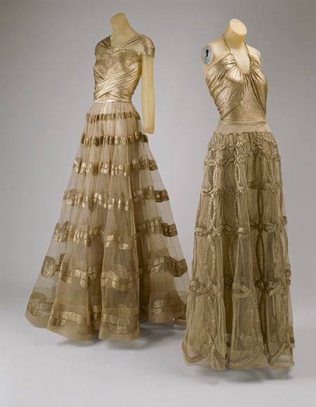 Evening Dress - 1938 - by Madeleine Vionnet (French, 1876-1975) - Silver lamé and ivory silk net - @Mlle