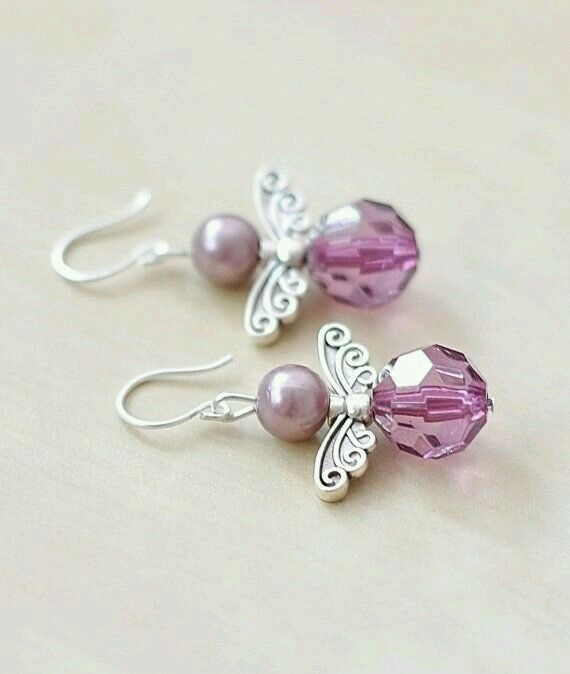 Lilac/purple earrings Tibetan silver angel wing earrings with lavender pearls & faceted lilac beads