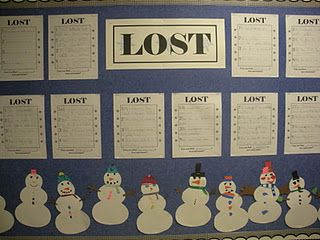 Lost! Create a snowman, and describe the snowman so that others can find the one that is yours. Very cute for a Winter Writing board!