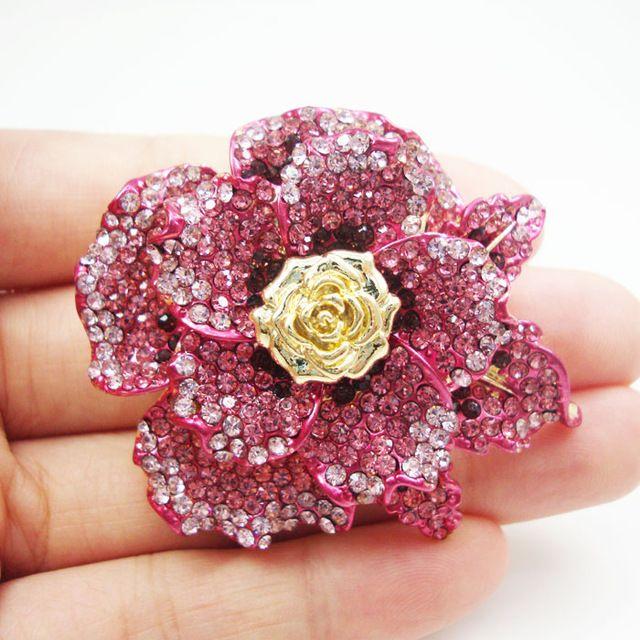 Мода Женщина Ювелирных Изделий Классический Розовые Розы Цветок Брошь Pin Австрийский хрусталь