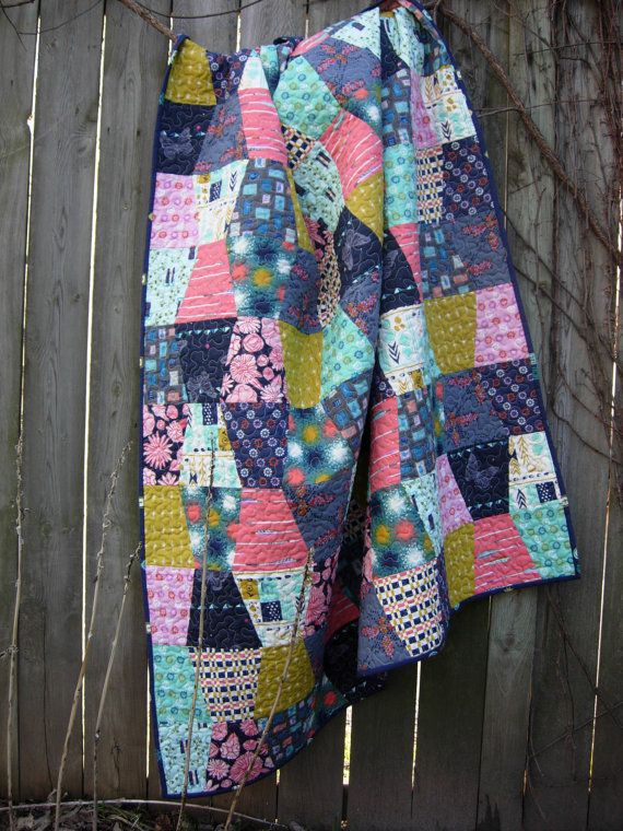 Cotton and Steel Quilted Throw Tumbler Lap Quilt  Quilts made from Cotton and Steel fabrics Thimble Lap Quilt
