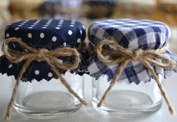 Navy and white favour. DIY mini jam jar wedding favor with navy blue shabby chic cover.. £1.15, via Etsy. See this is totally an awesome idea