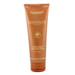 AlfaParf Cioccolato Leave In Cream - 250g/8.82oz by AlfaParf. Save 30 Off!. $22.00. A moisture-boosting leave-in cream Formulated with Cacao Extract & Hydrolyzed Wheat Protein to deliver superior moisture Shields hair from external effects while detangling it Unveils shiner, healthier & more manageable hair To use: Apply evenly to dry or damp hair, brush through & let dry naturally. No need to rinse off