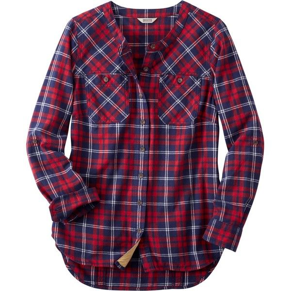 Women's Free Swingin' Flannel Tunic ❤ liked on Polyvore featuring tops, tunics, blue top, blue tunic, flannel top and flannel tunic
