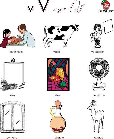 Letra V mayúscula, v minúscula. Personas, objetos y animales que ...