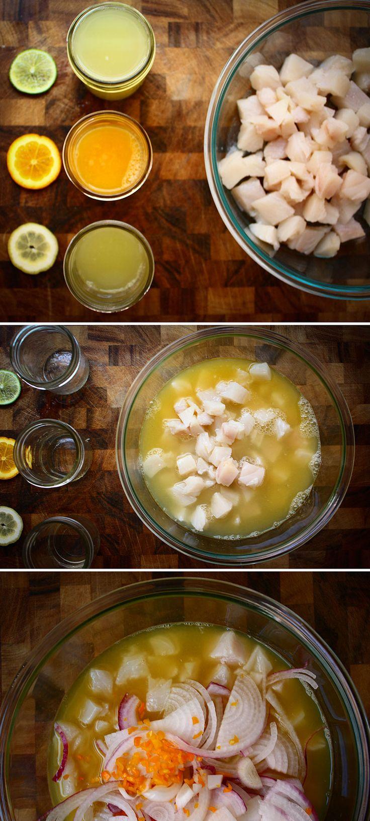 traditional-peruvian-ceviche pescado, limón, tomate, lima, cebolla, pimienta y naranja.
