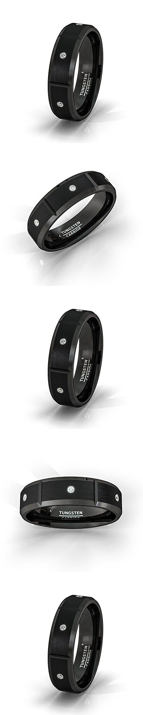 Mens Wedding Band 8mm Black Tungsten Ring Brushed Cubic Zircon Beveled Edges Comfort Fit Tu42 (7.5)