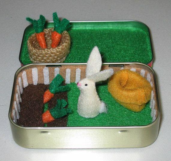 Rabbit garden play set in Altoid tin - with felt rabbit, carrots, basket and snuggle bag