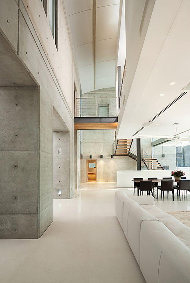 Best Flooring For Concrete Slab Industrial Hall Also Atrium Balcony Concrete Wall Great Room Industri Industrial House Industrial Bedroom Industrial Livingroom