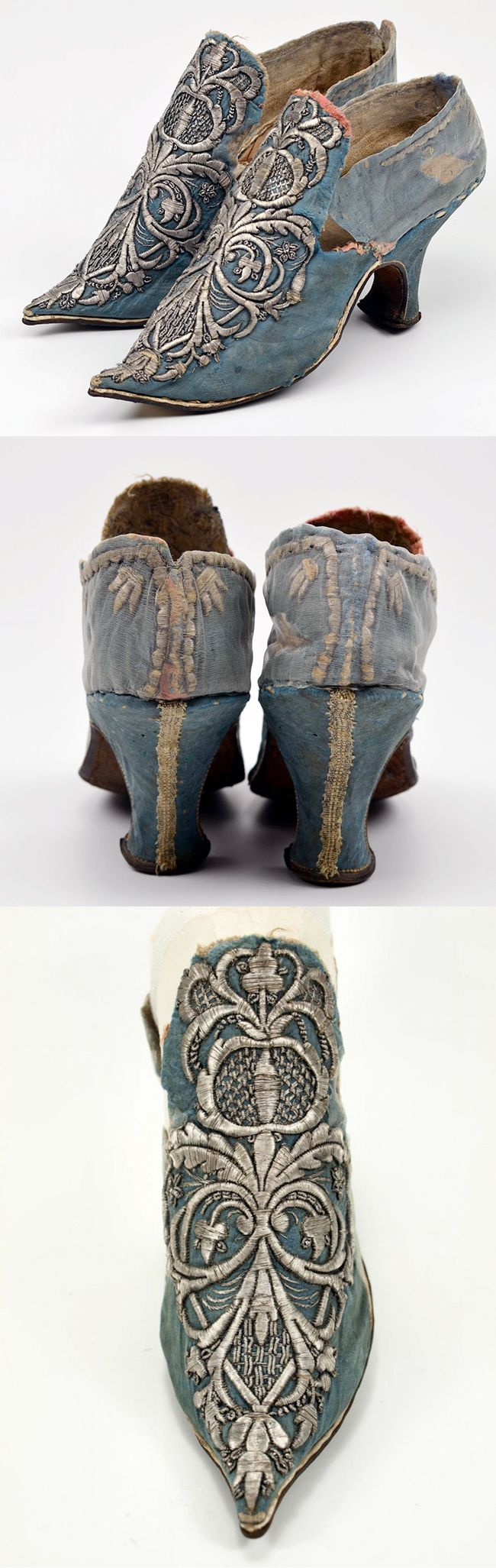 A pair of women's high heel shoes c.1700, Covered with floral blue silk damask . Embroidered in silver thread | Museum Weissenfels - Schloss Neu- Augustusburg ♡