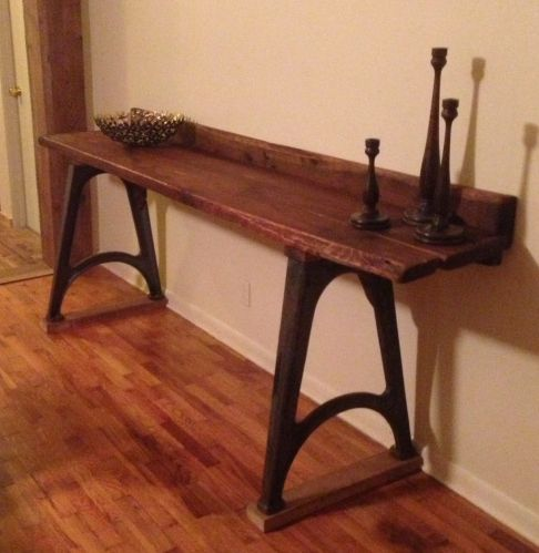 Antique Reclaimed Wood Console Table With Antique Cast Iron Machine Base
