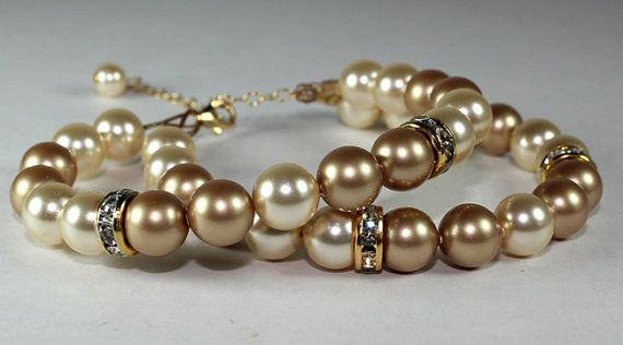 Latte Cafe Gold & Champagne 2 Strand Pearl Bracelet, Layered, Wedding Rhinestones, candlelight, espresso, butterscotch, mink, cashmere -  ooh!  you can get these in many color combinations!!