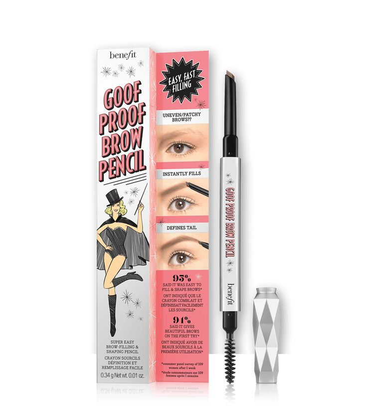NEWLY DESIGNED - BENEFIT Goof Proof Waterproof Eyebrow Pencil. Finally, a perfectly-designed eye brow pencil! Everything from its slanted tip, genius spoolie and lightweight design make this eye brow pencil a must-have for summer and beyond.