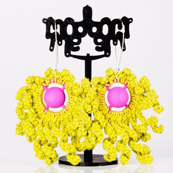 Modern Lime Green & Pink Crochet Earrings Handmade by ModmeStyle
