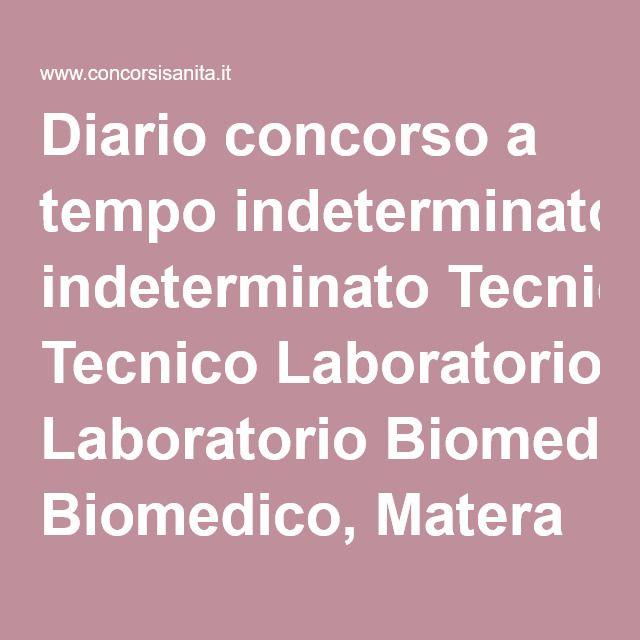 Diario concorso a tempo indeterminato Tecnico Laboratorio Biomedico, Matera