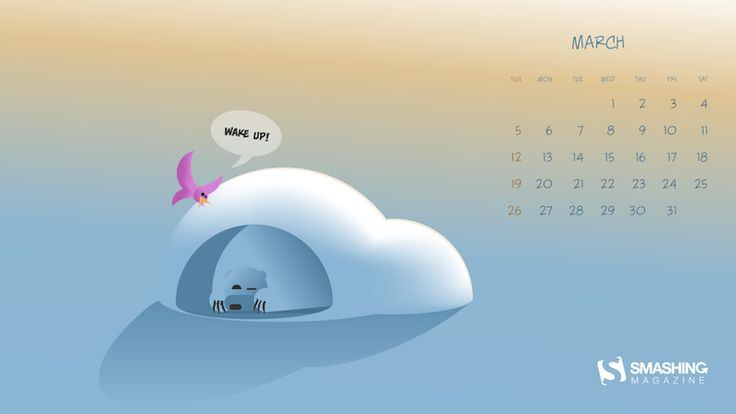 Wake Up! One from wallpapers of the month (march) on Smashing Magazine  #wallpaper #graphic #vector #spring #bear