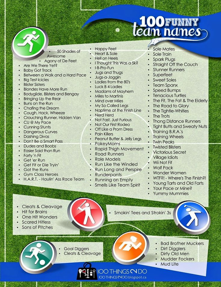 100 Funny Team Names - great ideas for baseball, soccer, charity walks and obstacle races. Racey, but funny!