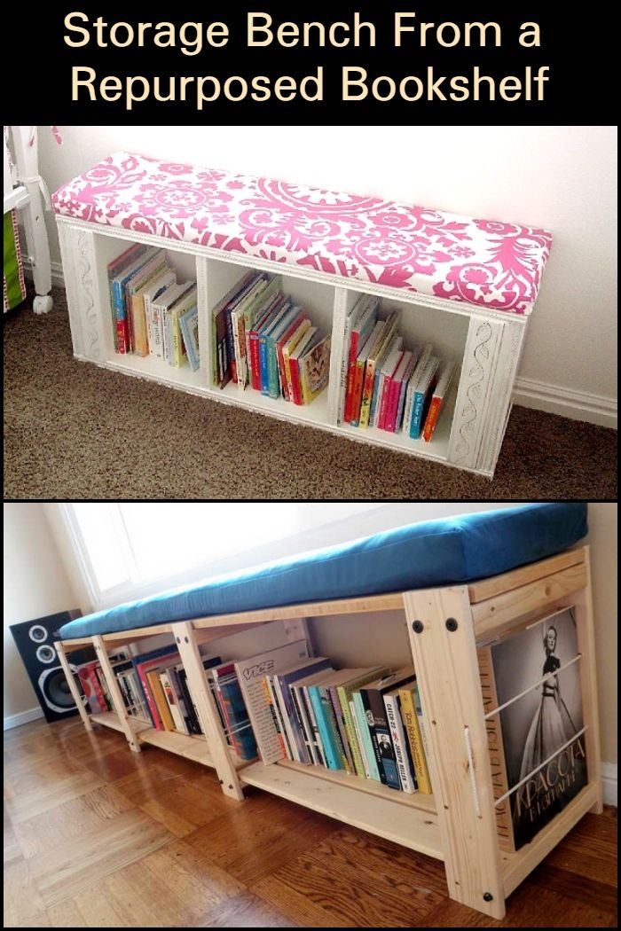 Build A Storage Bench From A Repurposed Bookshelf Bookshelves Diy Storage Bench Bedroom Diy Storage Bench