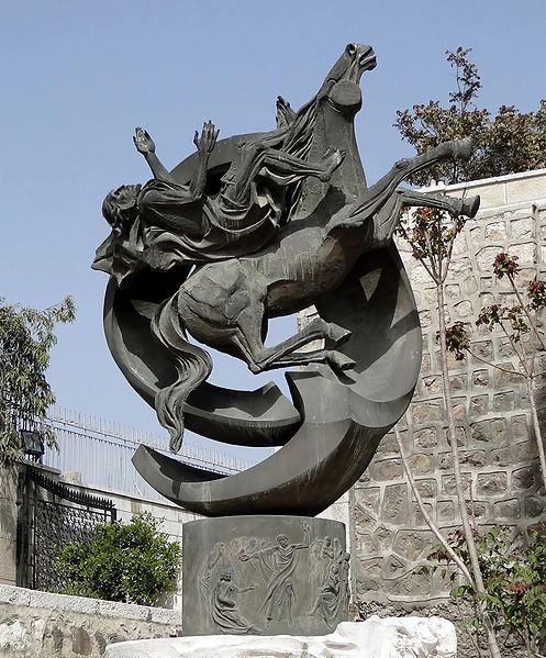 Statue of Saint Paul at Bab Kisan, Damascus, Syria