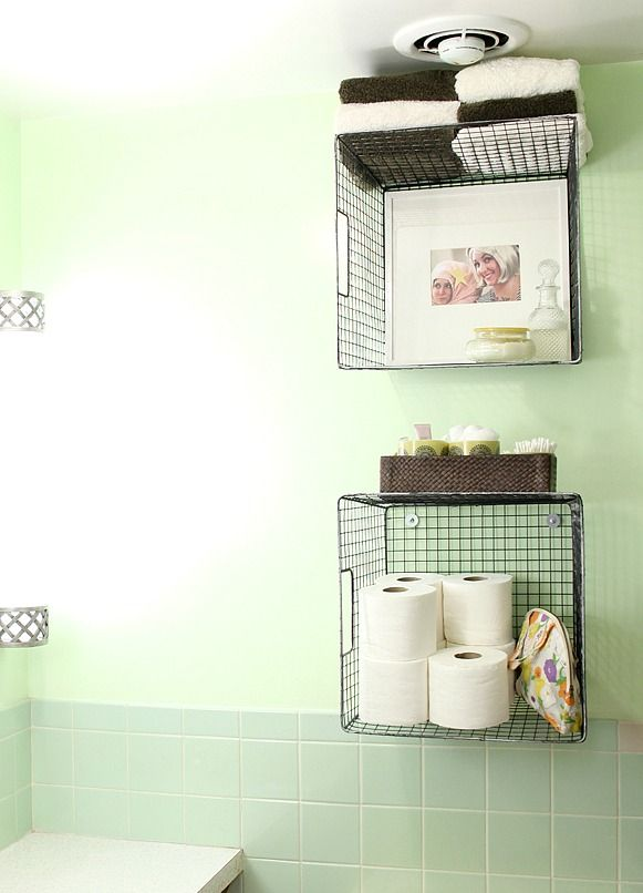 Great way to use old storage baskets. Internal and external storage!
