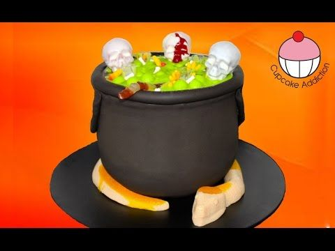 Bubbling Halloween Cauldron Cake with Giant Gummi Snake by Cupcake Addic...