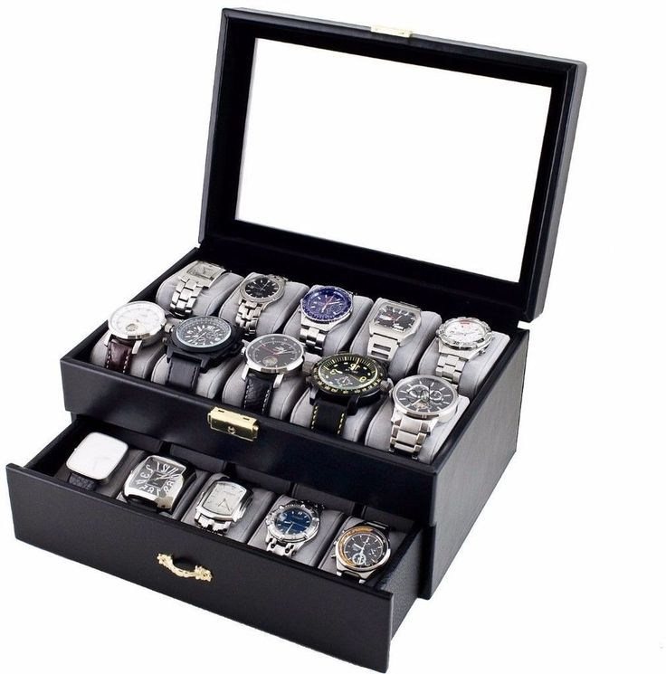 Caddy Bay Collection Black Leatherette 20 Watch Storage Box Case with Glass Lid #CaddyBayCollection