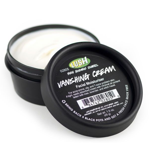 Vanishing Cream Moisturizer - LUSH Cosmetics: super light with witch hazel to fade acne marks. Good to know Bc I bought this not knowing it helps fade acne marks! This stuff just gets better and better the more I research it