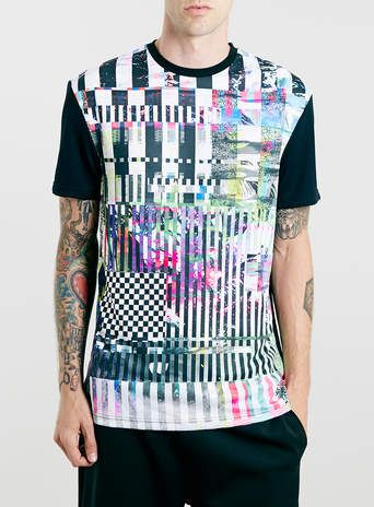 BLACK GLITCH PANEL T-SHIRT - Limited Edition - Clothing
