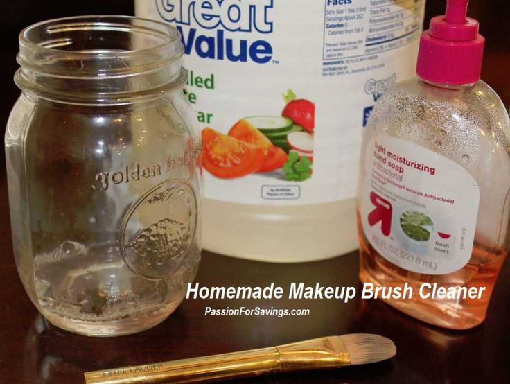 Homemade Makeup Brush Cleaner    1 tsp Hand Soap *You don't need much  1/4 Cup White Vinegar  1 Cup Water    Combine in a Large Jar and Swirl the Dirty Brushes to get all the Makeup Out, Then Lay on a Towel to dry.