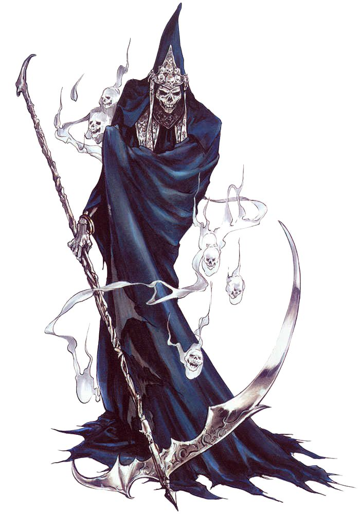 """""""Death"""" is THE Grim Reaper and Dracula's right-hand man in the Castlevania games, usually serving as one of the last bosses in any given Castlevania installment.  Sometimes he shows up early however, such as in Symphony of the Night when he steals all of Alucard's gear and forces him to retrieve it back (think the times when Samus loses her gear early in the Metroid Prime games)."""