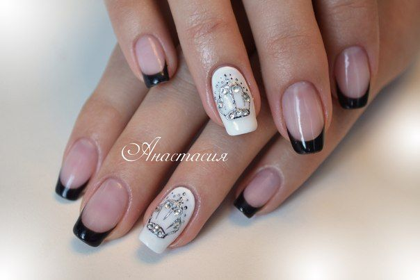 Black and white French manicure, Black-and-white French nails, Crown nails, Evening dress nails, Evening nails, French manicure ideas 2016, French manicure with rhinestones, French nails ideas 2016