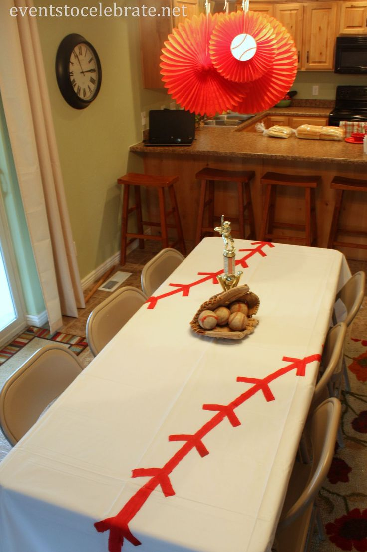 Baseball Birthday Party Ideas - events to CELEBRATE! | DIY Baseball Tablecloth - Events To Celebrate