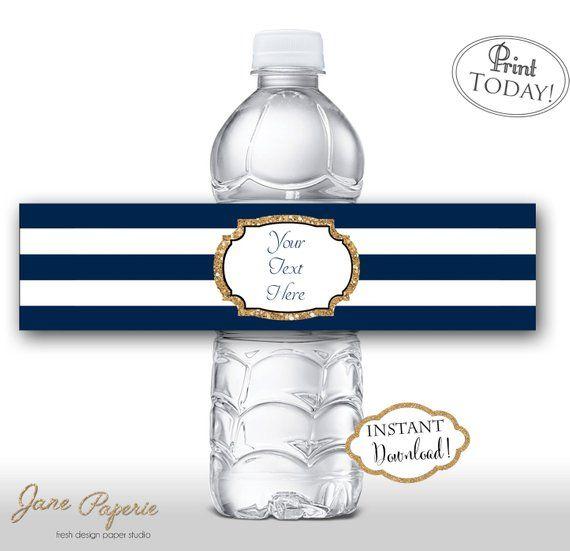 Instant Download Navy Stripe Gold Glitter Water Bottle Etsy Diy Water Bottle Labels Bottle Labels Diy Diy Labels