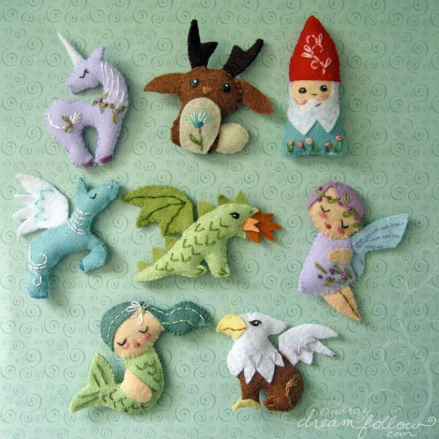 mini felt mythical creatures--awesome!     pattern pdf's