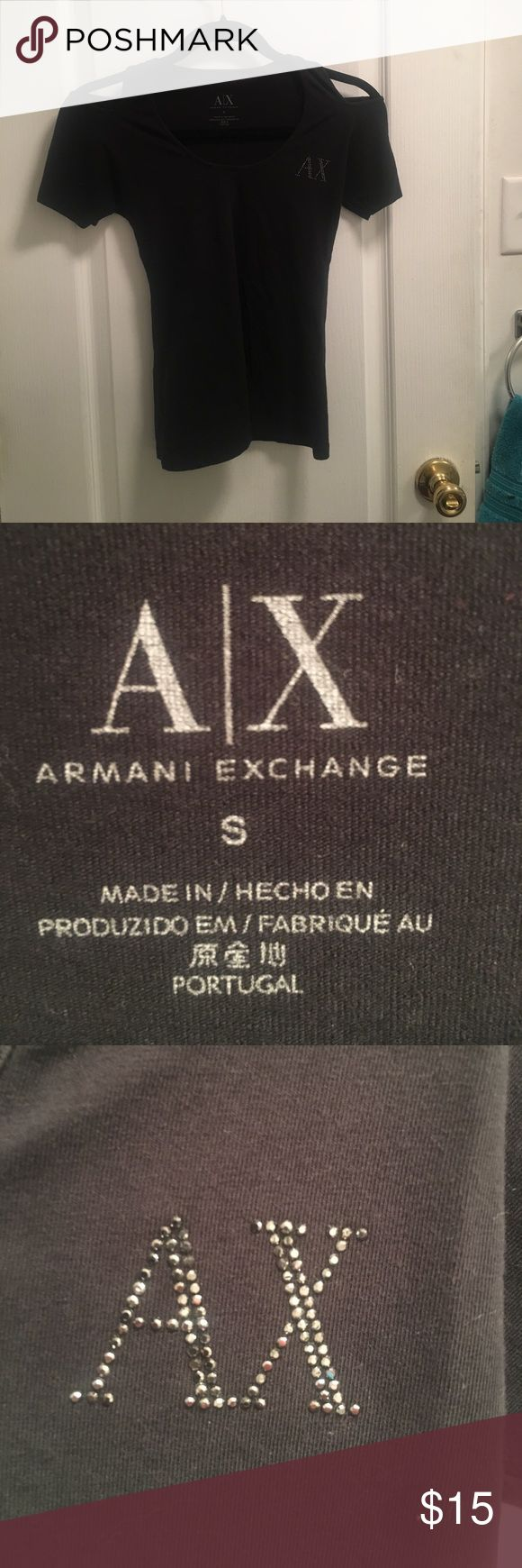 Armani Exchange shirt A small black Armani exchange shirt. Tight fit. Great condition! A/X Armani Exchange Tops Tees - Short Sleeve