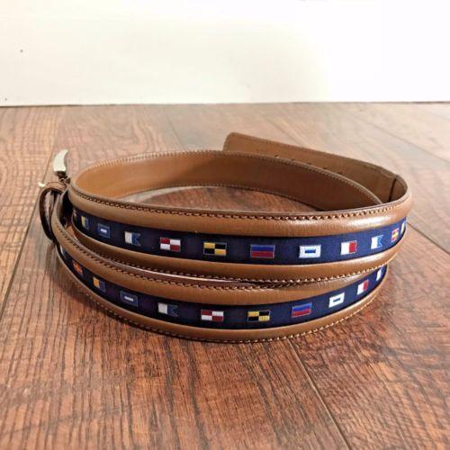 Paul & Shark Men's 110 cm 44 in Nautical Flag Genuine Leather Belt Made in Italy