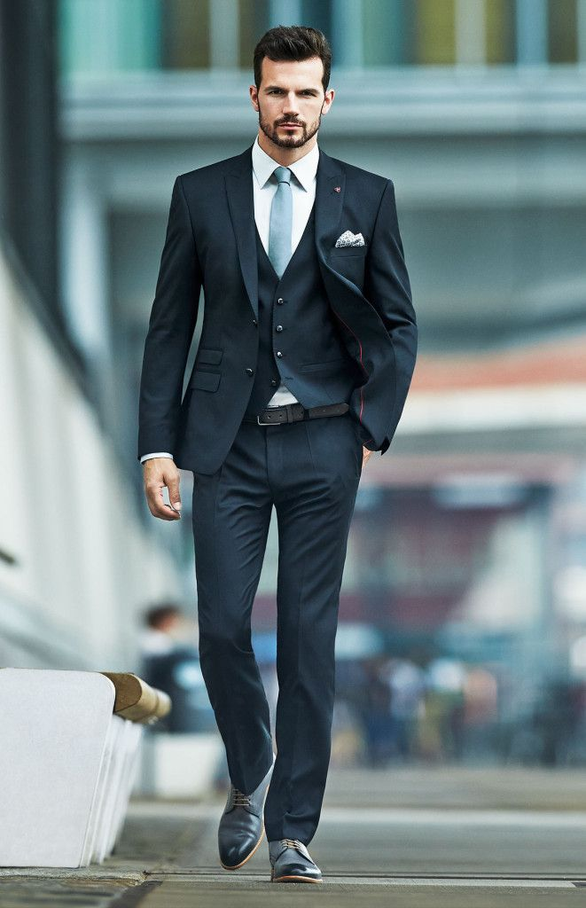 dark business suit, very elegant and stylish