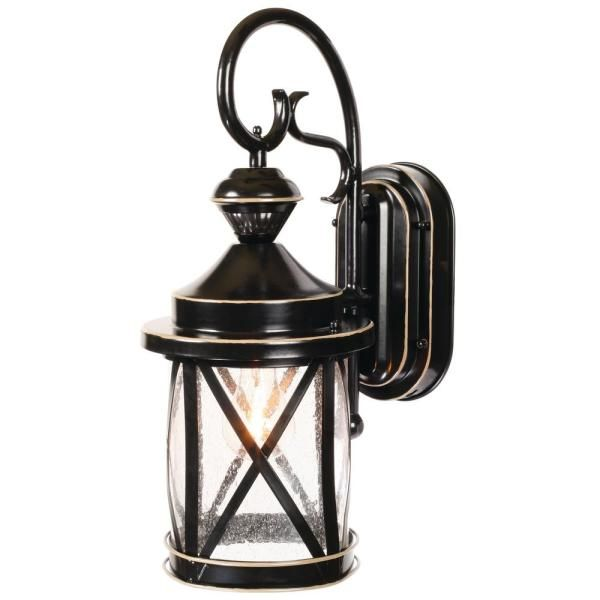 Home Decorators Collection Colonade Collection 1 Light Sand Black Outdoor Wall Lantern Sconce With Cle In 2020 Outdoor Wall Lighting Outdoor Walls Outdoor Wall Lantern