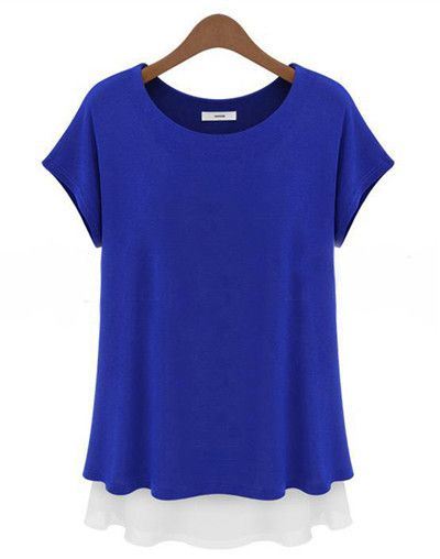 Summer New Casual Oversized Loose Chiffon Patchwork O-neck Women T Shirt Short Sleeve Tops Plus Size Women Clothing for Gift