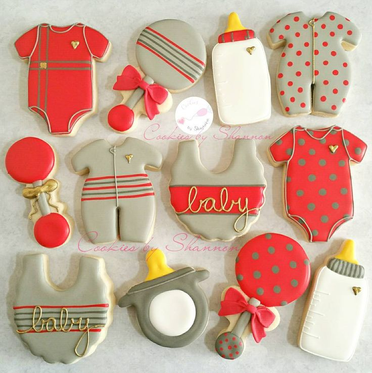 A simple grey and red baby set with touches of gold. I love baby shower cookies…