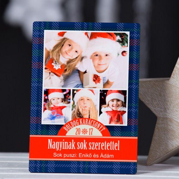 Egyedi karácsonyi fotópanel 4 fényképpel Ez a különleges fotópanel remek ajándék lehet távol élő rokonoknak, nagyszülőknek vagy barátoknak egyaránt. A fotópanelonelhelyezhető a 4 legjobb közös fényképe. Az ünnepi jókívánságok alatt helyet hagytunk egy személyes üzenetnek is, mellyel még egyedibbé varázsolhatja ezt a kedves karácsonyi ajándékot.