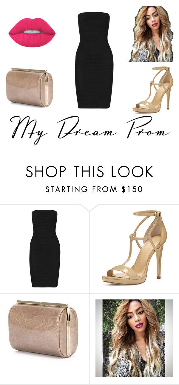 """""""Prom Do-Over: Your New Dream Dress"""" by lilyrose2000 on Polyvore featuring Hervé Léger, MICHAEL Michael Kors, Jimmy Choo and Lime Crime"""