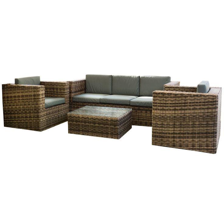 Salottino polirattan poltrone divano tavolino da esterno cuscini grigi 750/20MLG